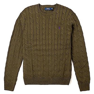 Polo Ralph Lauren 經典刺繡小馬圓領麻花針織毛衣-墨綠色