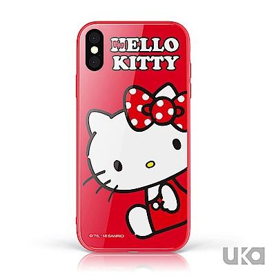 三麗鷗 HelloKitty iPhone X/Xs 9H鋼化玻璃彩繪背蓋-坐姿凱蒂