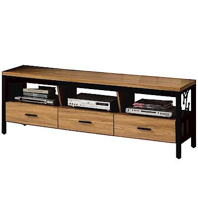 品家居 斯可6尺木紋三抽長櫃/電視櫃-179.7x40x47.9cm免組