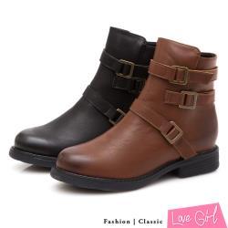 Love Girl 酷感帥氣造型三側扣厚底短靴