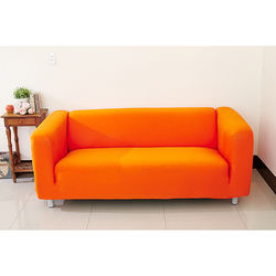 Osun-一體成型防蹣彈性沙發套/沙發罩_3人座 素色款 活力橘