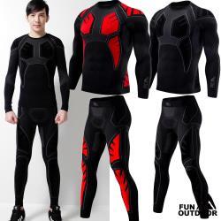 【德國-戶外趣】德國品牌男肌肉壓縮 健身 跑步保暖衣褲組(442203黑紅/黑灰)
