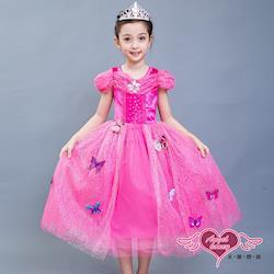 天使霓裳 角色扮演 粉蝶仙子 兒童萬聖節短袖公主洋裝(桃紅) QC1625