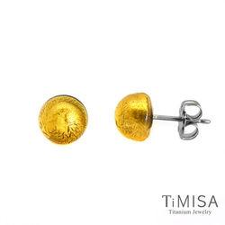 【TiMISA】點點繽紛 金黃琉璃 純鈦耳環一對
