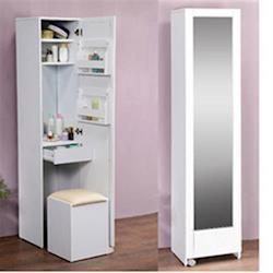 《C&B》四合一收納化妝桌椅穿衣鏡櫃