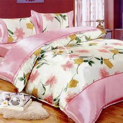 卡莎蘭 花之情 雙人絲緞四件式二用被床包組
