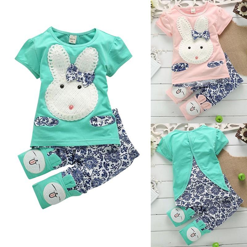女童萌萌兔短袖套裝嬰兒女孩夏季清新上衣+短褲套裝【IU貝嬰屋】