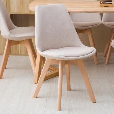 【歐派椅業】北歐家用伊姆斯椅現代簡約實木書桌椅休閑靠背椅布藝餐椅洽談椅子