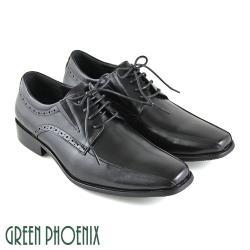 GREEN PHOENIX 線條感雷射雕花綁帶全真皮皮鞋(男鞋)T63-18952