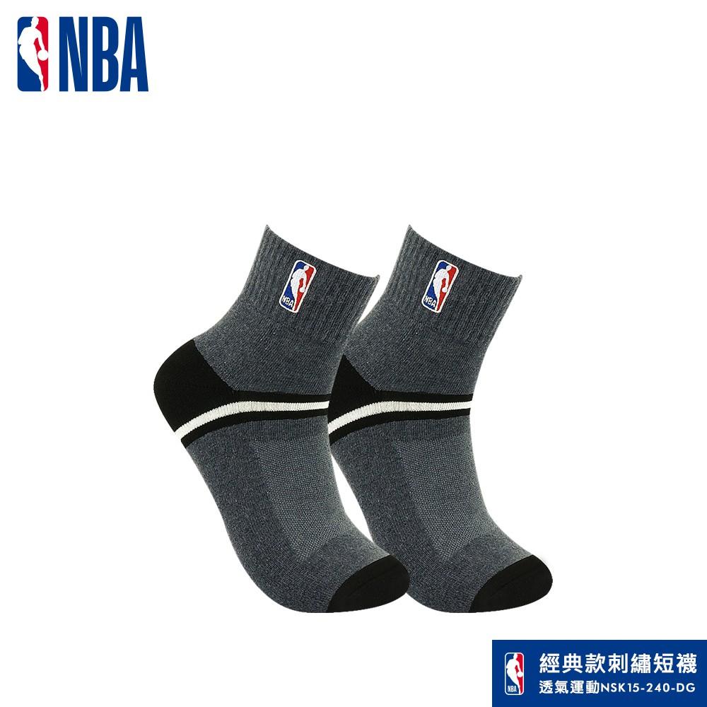 NBA襪子 籃球襪 運動襪 休閒刺繡網眼毛圈短襪(深花灰) NBA運動配件館