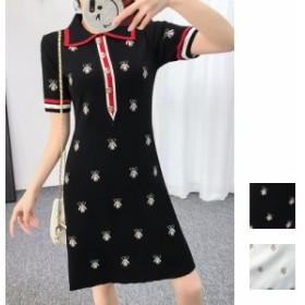 韓国 ファッション レディース ワンピース 夏 春 カジュアル naloF576 ハッピーモチーフ 刺繍 襟付き ポロシャツ風 ミニ デート スポーテ