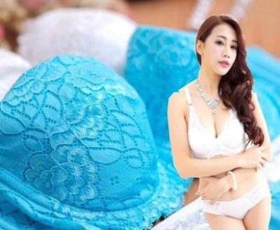 *╮變身公主╭*【NO1912】天使之 戀蕾絲/薄襯/T型三片剪接BCD胸罩內衣含內褲[藍.白]