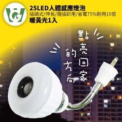 【U want】25節能減碳LED可彎式感應燈泡(  插頭型/暖黃光)