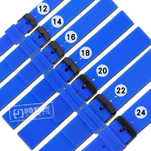 Watchband / 12.14.16.18.20.22.24mm / 舒適耐用 輕便運動型 矽膠錶帶 藍色