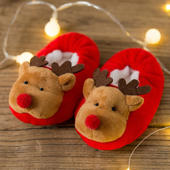 [媽咪可兒] 聖誕限定-3D立體動物造型保暖室內鞋/保暖鞋襪/襪套/地板襪(麋鹿)