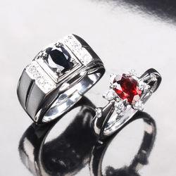 【寶石方塊】甜蜜傳情天然1克拉黑藍寶石/1克拉紅榴石對戒