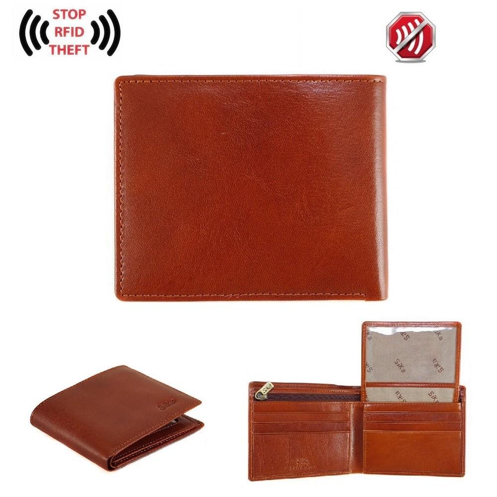[假一賠二] Sika 防RFID側錄義大利素面牛皮中性短皮夾 A8206 屏蔽錢包 電子防盜錢包 男性皮夾 真皮皮夾