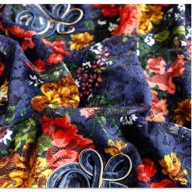Tシャツ - Sawa a la mode 鮮やかに雰囲気のいい花柄トップス レディースファッション トップス チュニック 七分袖 ブルー Blue 青色 レディースファッションナチュラル otona kawaii フリーサイズ F Fサイズ M L LL Mサイズ Lサイズ L