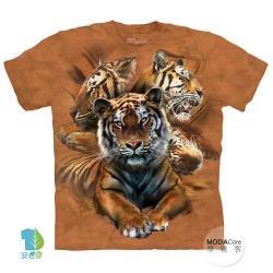 摩達客 (預購) 美國進口The Mountain 休憩虎群 純棉環保藝術中性短袖T恤