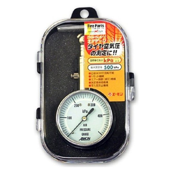 日本AMON 專業圓型胎壓計 胎壓表 胎壓測量器(可洩壓) 盒裝 6777