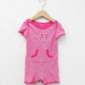 【中古】ベビーギャップ BABY GAP ロンパース つなぎ ショートオール ボーダー ロゴ ポケット 綿 ピンク 白 70 ベビー キッズ