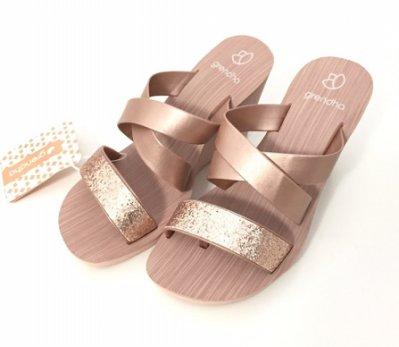 ❴店長推薦❵**Grendha**巴西夾腳拖鞋(低調奢華交叉帶 楔型厚底拖鞋) 亮膚金