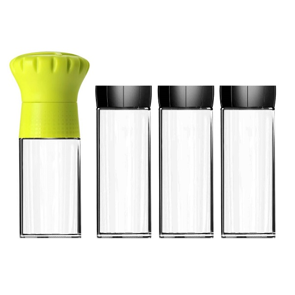 [MIX] 歐風香料收納組- 胡椒研磨瓶(100ml,黃色)+玻璃密封罐(160ml*3,黑色)