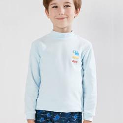 LOVIN 一王美4件淺藍色MIT超彈性男童工程車高領衛生衣
