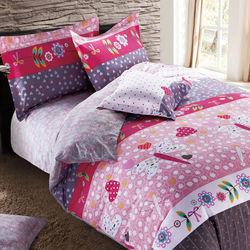 【FOCA-花開曲調】加大精梳棉四件式鋪棉兩用被床包組