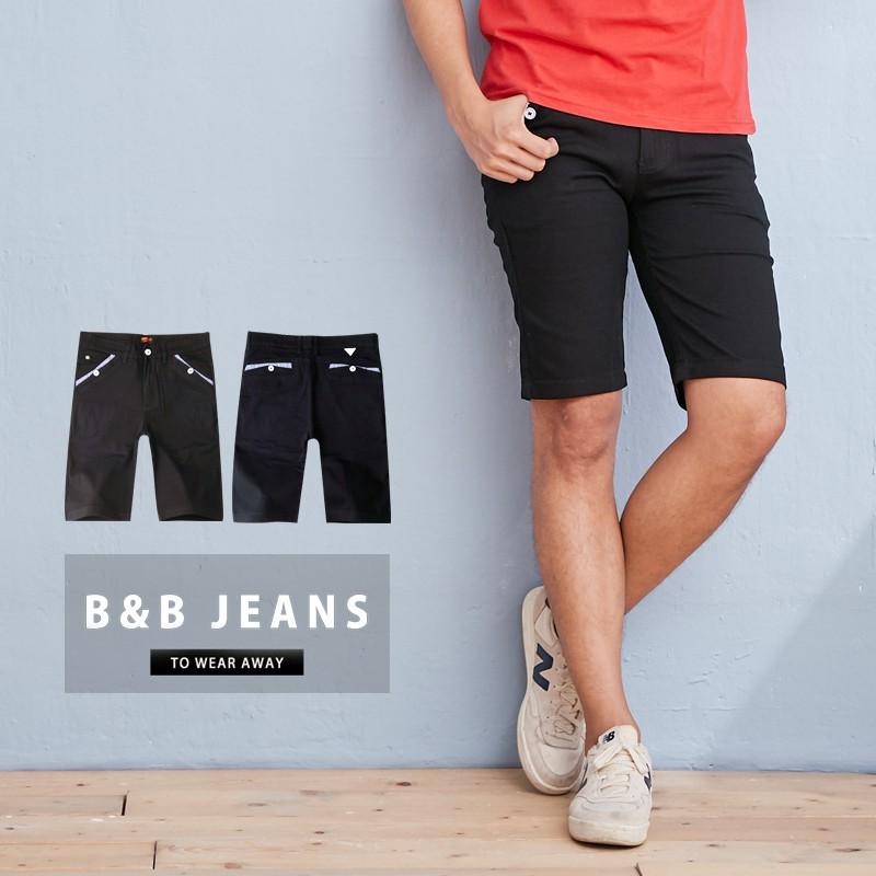 黑色質感簡約口袋滾邊設計短褲