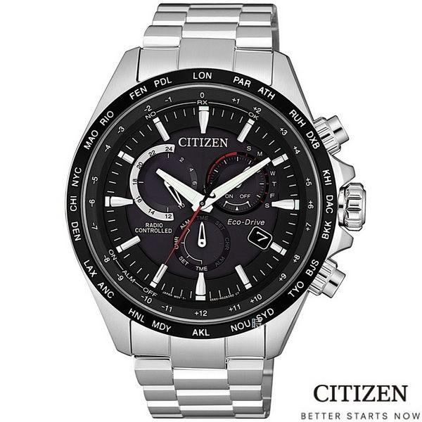 CITIZEN/星辰 光動能電波錶 三眼計時手錶(CB5838-85E) 黑/45mm