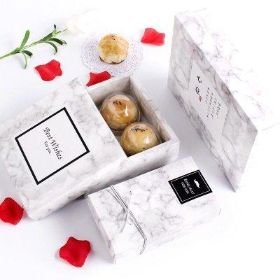 (一組5入)兩粒80g質感大理石紋天地蓋包裝盒 曲奇餅乾  蛋黃酥 鳳梨酥 馬卡龍 月餅包裝盒 手工皂 巧克力 牛軋糖