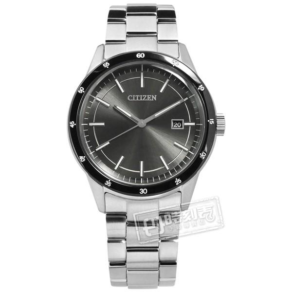 CITIZEN / 光動能 日本製造 日期 防水100米 不鏽鋼手錶 灰黑色 / AW1164-53H /40mm