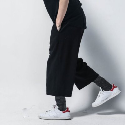 斷碼折扣【3angle】日韓闊腿寬鬆九分褲 直筒休閒棉褲 男女同款『CLL-C007』