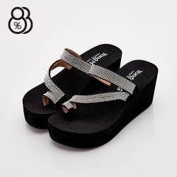 【88%】MIT台灣製 水鑽拼貼 仿麂皮 高粗跟厚底7cm 套指 高跟拖鞋 2色