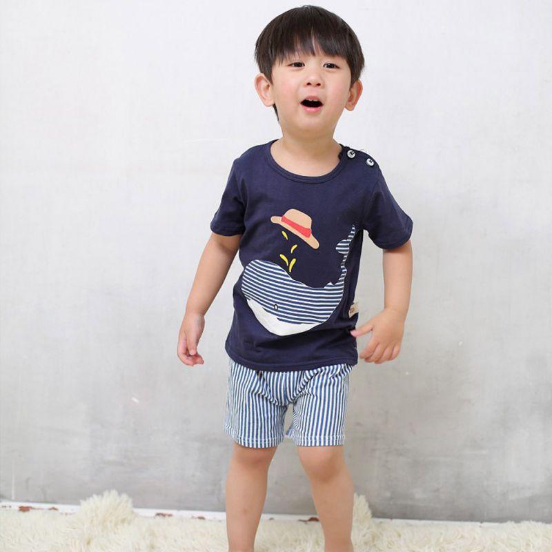 兒童服裝套裝卡通T恤+短褲2件/套【IU貝嬰屋】