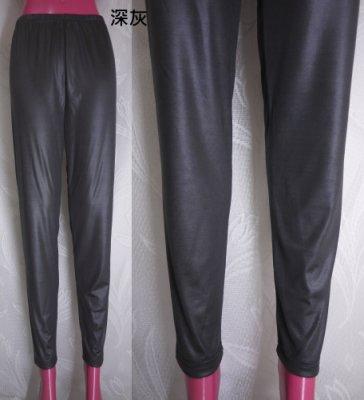 鴨米衣舖大尺碼基本內搭款亮面薄奶絲貼身緊身內搭長褲腰圍28~42吋~正韓品~黑色