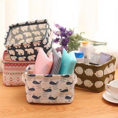 北歐風格印花可摺疊桌面置物籃/床頭收納/保養品收納籃/居家小物收納anybuy