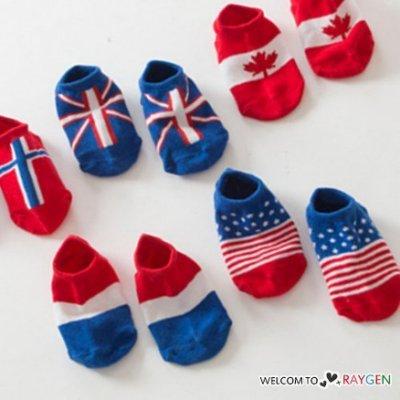 八號倉庫 帥氣寶寶彩色國旗防滑襪 船襪 短襪【2X013G770】