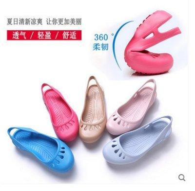 洞洞鞋女夏平跟包头凉鞋女式塑料凉鞋花园鞋学生沙滩鞋 糖果色沙灘鞋 涼鞋 洞洞鞋