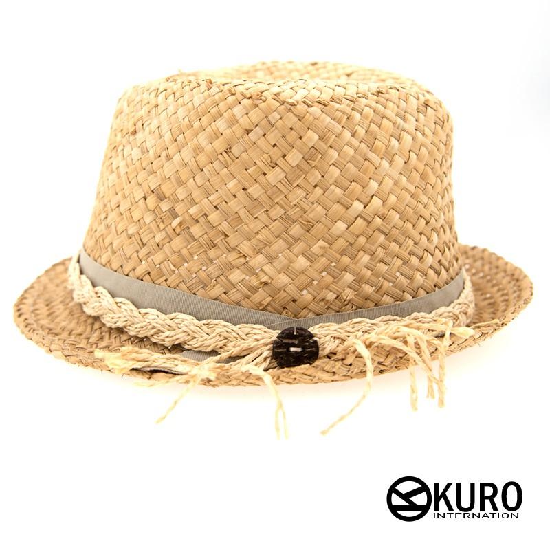 KURO-SHOP米黃色紙草編繩帽扣草帽