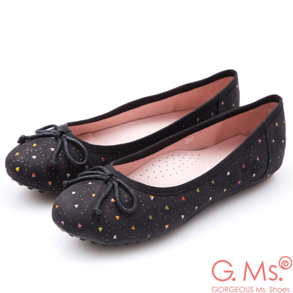 G.Ms. 戀彩鏤空愛心蝴蝶結豆豆鞋-可愛黑37碼