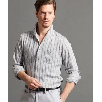 ムッシュニコル ストライプ柄イタリアンカラーシャツ メンズ 09ホワイト 48(L) 【MONSIEUR NICOLE】
