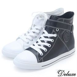 【Deluxe】全真皮運動球鞋-白-黑(休閒鞋)-3202