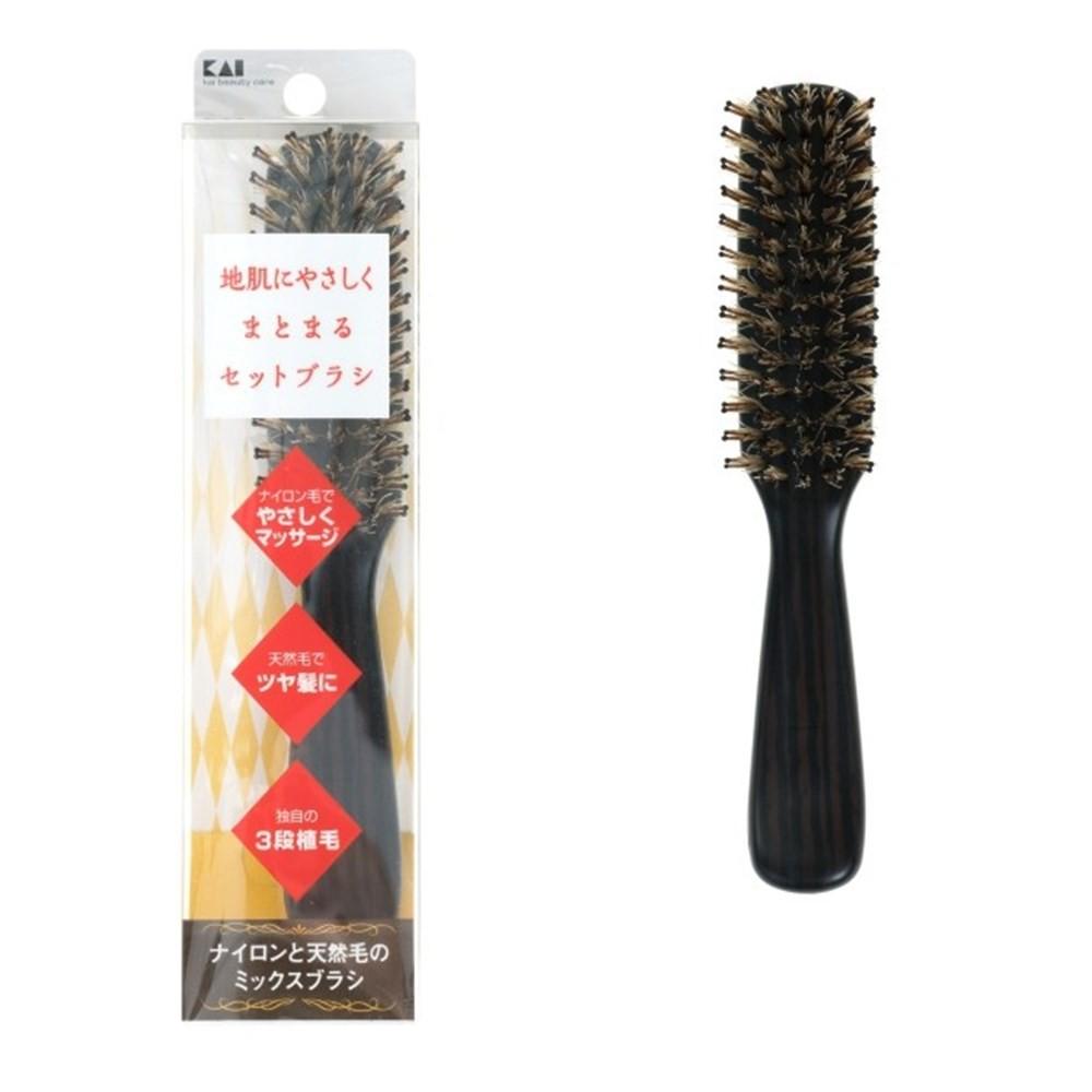 日本貝印 (KAI) 三段式植毛豬鬃直梳 -(S) KQ-3079 /髮梳