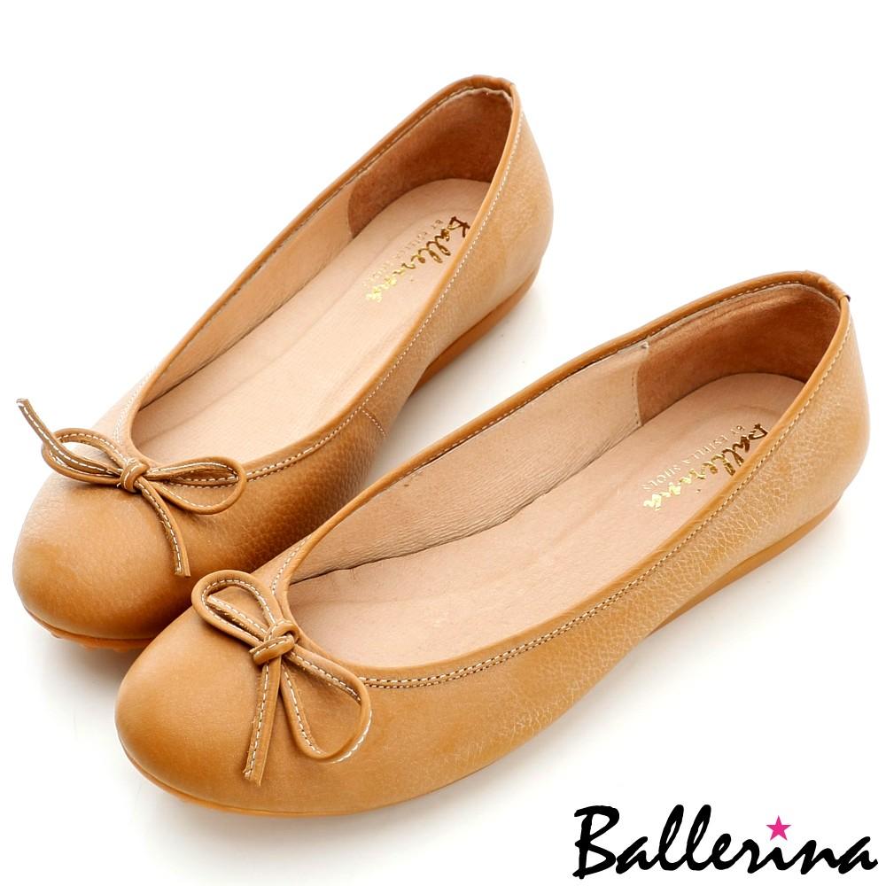 Ballerina-台灣手工製.MIT牛皮雙色打蠟蝴蝶結豆豆鞋-棕【BT600015KI】