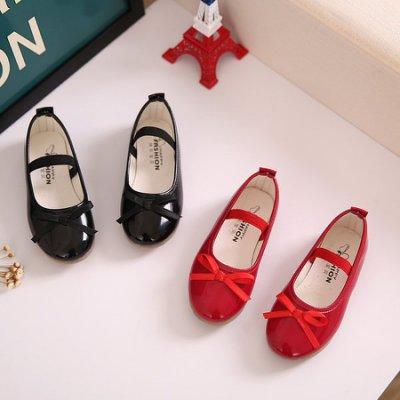 新款蝴蝶結韓版女童鞋單鞋寶寶兒童皮鞋豆豆鞋表演黑色公主鞋