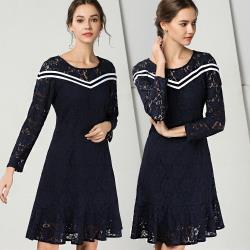 麗質達人 - 79112藍色假二件式洋裝