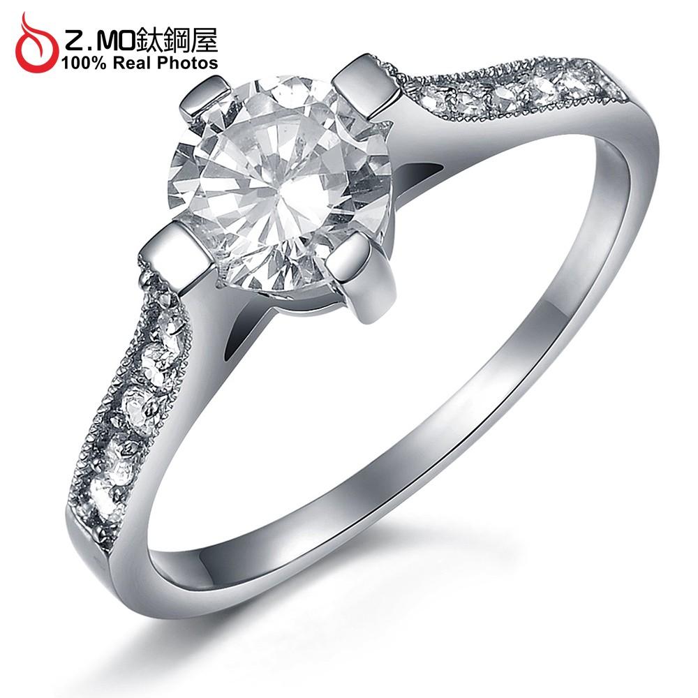Z.MO鈦鋼屋 女生戒指 滿鑽戒指 求婚鑽戒 白鋼戒指 奢華水鑽 結婚必備 新娘配戴 七夕情人節禮物【BKS2481】