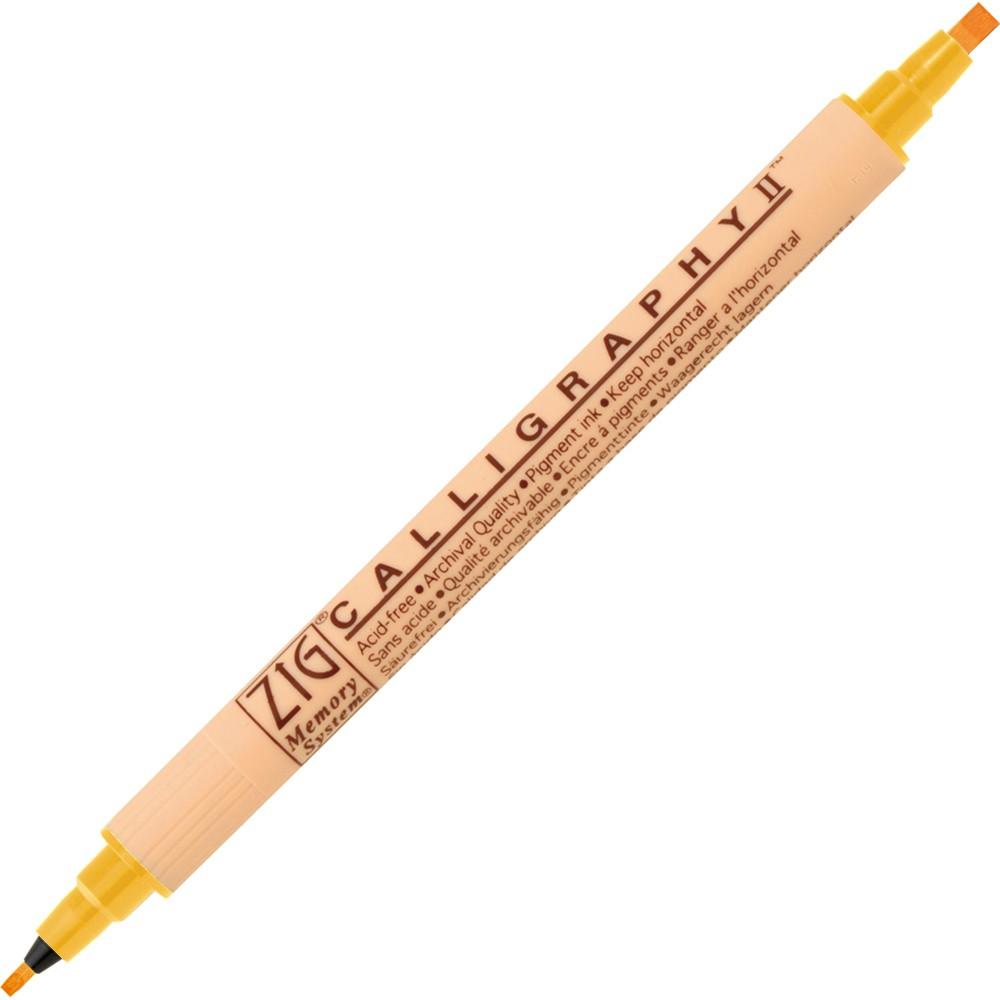 【Kuretake 日本吳竹】 雙頭平頭麥克筆(2mm/3.5mm)-陽光黃